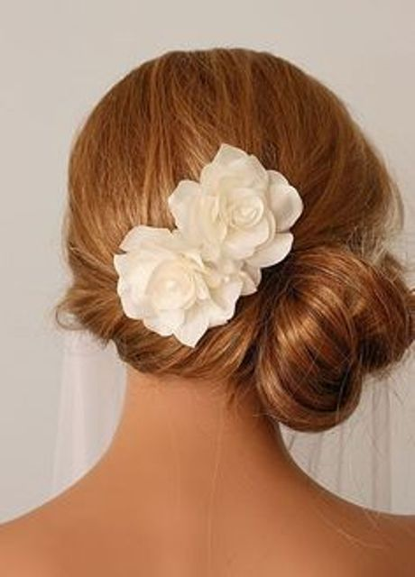 side bun with flowers