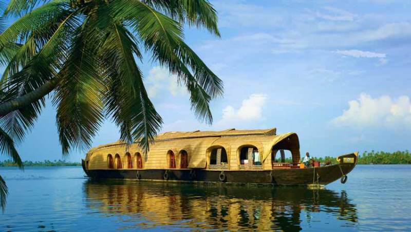 a houseboat in the backwaters, kerala, india