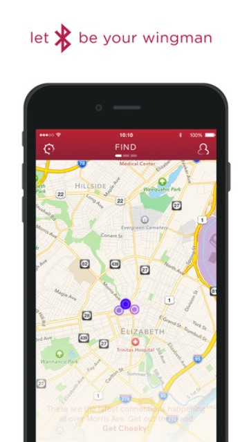 cheekd dating app page showing a map of where your passed a potential lover