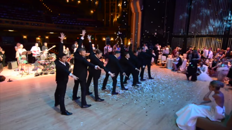 kirk and his groomsmen during their performance