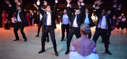 kirk henning and his groomsmen surprising valerie tellmann with their dance routine