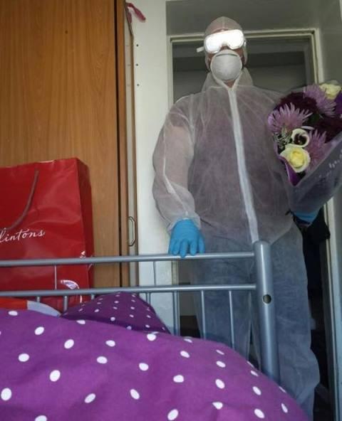 richard selway in a hazmat suit to tend to his sick girlfriend paige-ellen williams