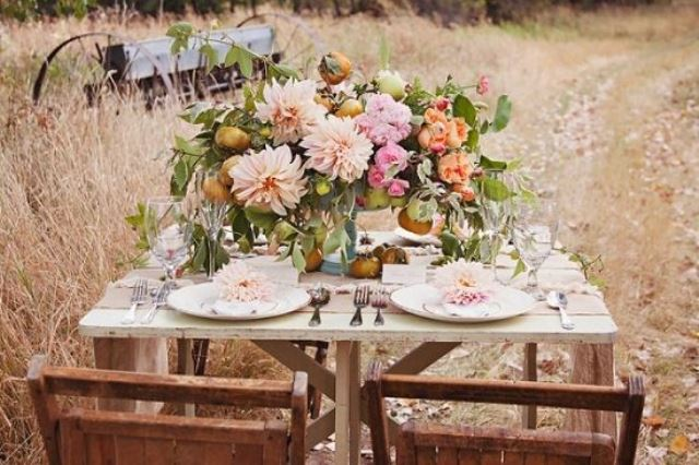 rustic wedding centerpiece with mixed flowers