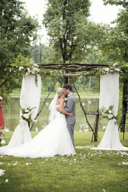 rustic wedding flowers as backdrop