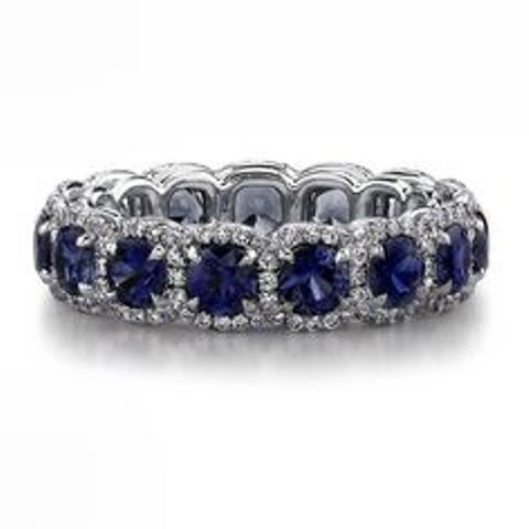 sapphire and diamond wedding eternity band