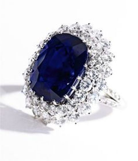 cushion shaped sapphire and diamond ring