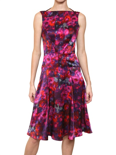 ERDEM PRINTED SILK SATIN DRESS Fashion Fall Winter 2013-14