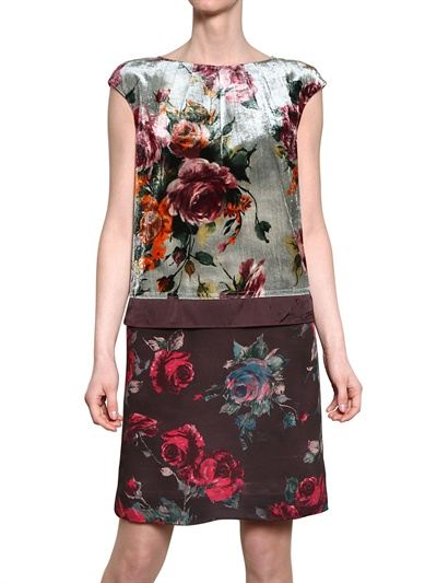 ANTONIO MARRAS VISCOSE VELVET & CREPE DE CHINE DRESS Fashion Fall Winter 2013-14