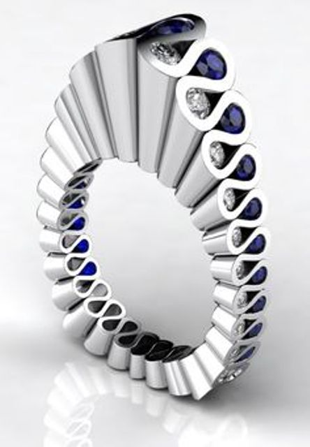 fluted platinum, diamond and sapphire ring