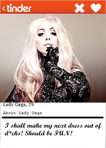 Lady Gaga Tinder bio