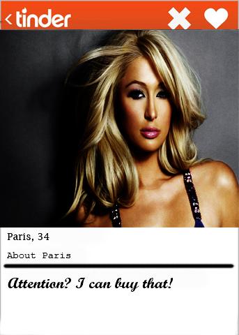 Paris Hilton Tinder bio