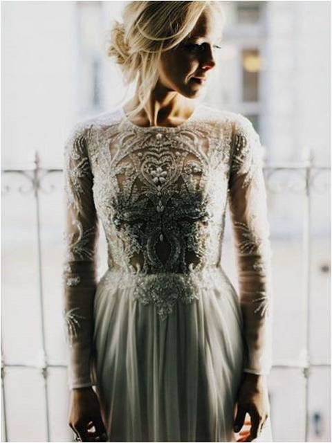 Embroidered wedding dress for the laid back