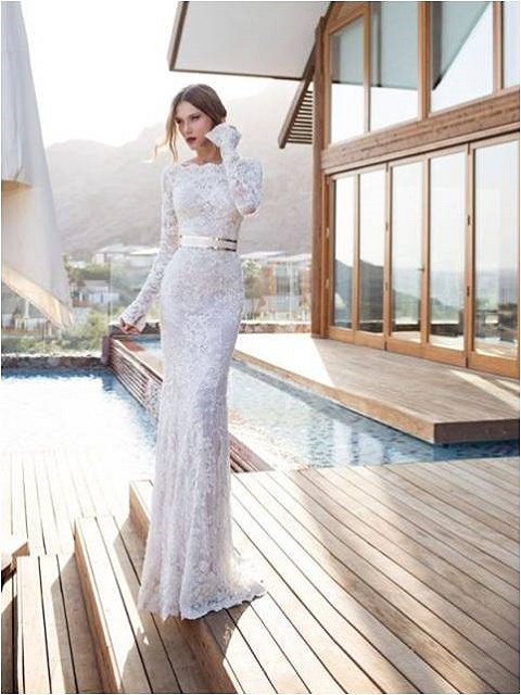 urban silhouette full embroidered wedding dress