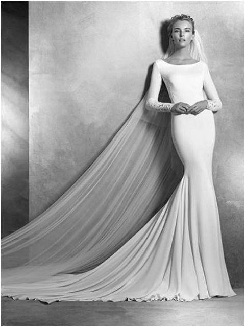 patterned sleeves mermaid dress