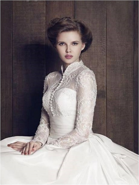 vintage button up wedding dress
