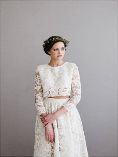 Two-piece boho chic wedding gown