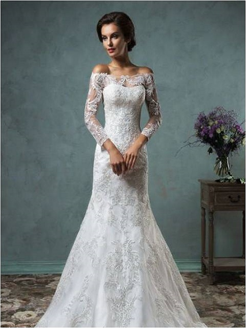 embroidered wedding dress