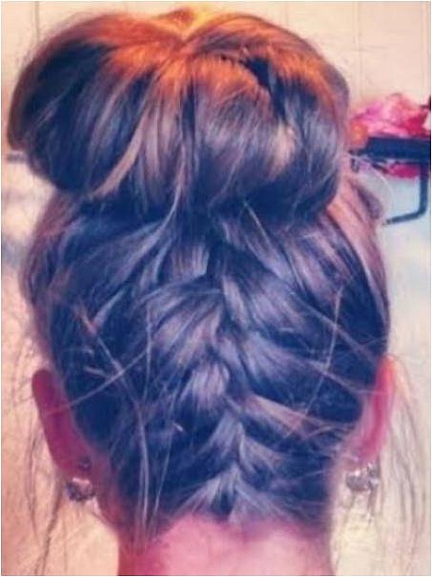 Upside down braid top knot