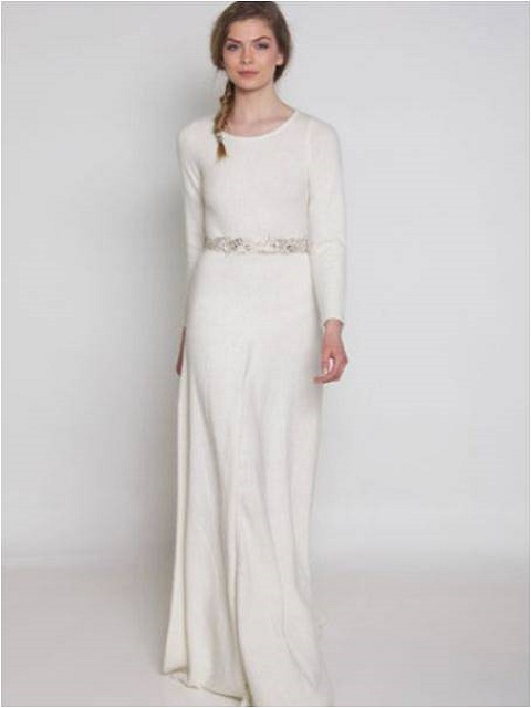 structured ivory silk gown