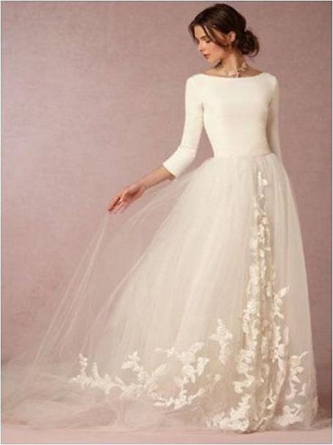 Quarter sleeves princess wedding dress