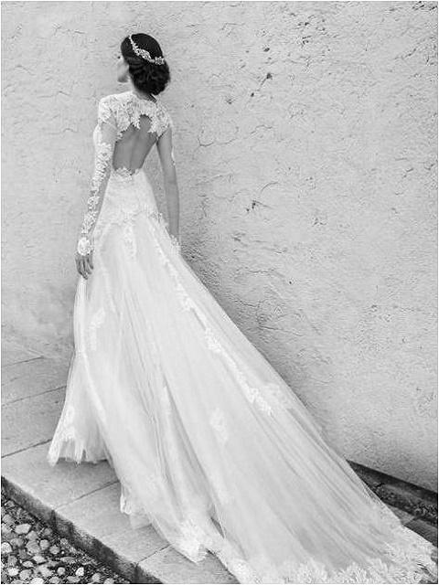 Backless sheer sleeves wedding dress