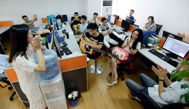 cheerleaders at IT firms conducting a jam session