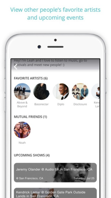 mix'd dating app page showing a user's favorite artists