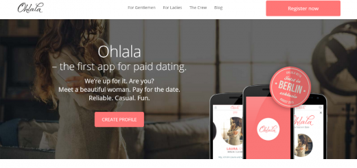 ohlala paid dating app home page