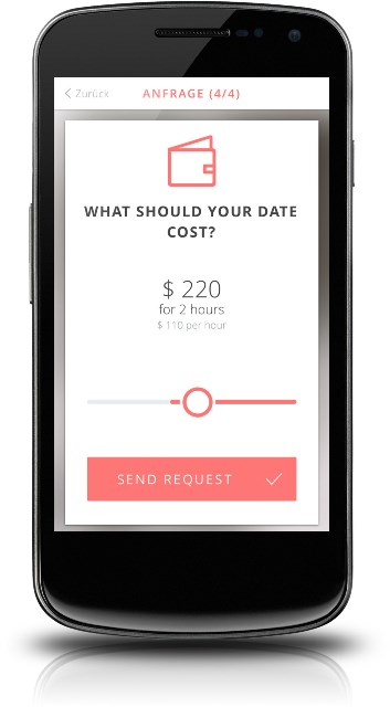 ohlala paid dating app page showing the request a date feature