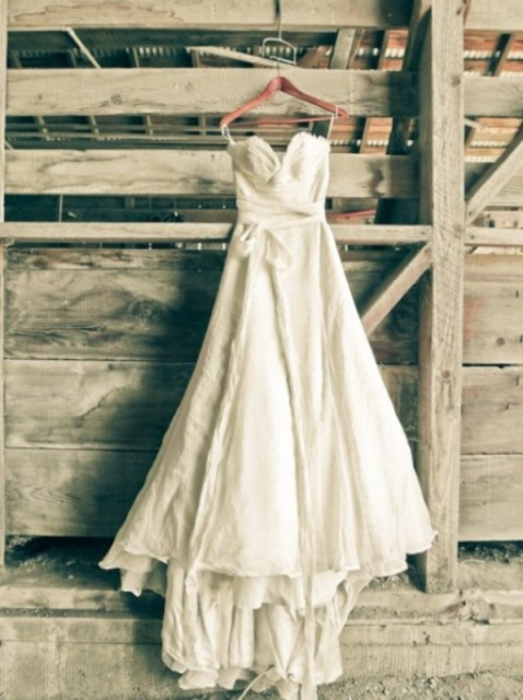 rustic asymmetric wedding dress