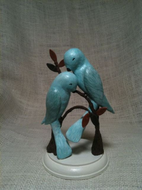 rustic blue birds topper