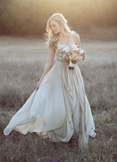 rustic champagne dress in heavy silk