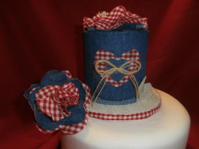 rustic denim and fabric roses topper