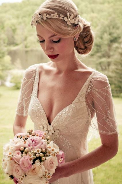 rustic embellished silk and tulle wedding dress