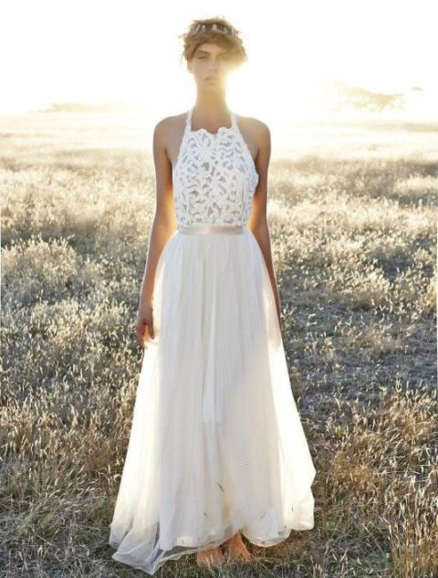 rustic free-spirited lace wedding dress