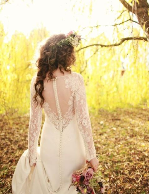 rustic full-sleeve lace wedding dress