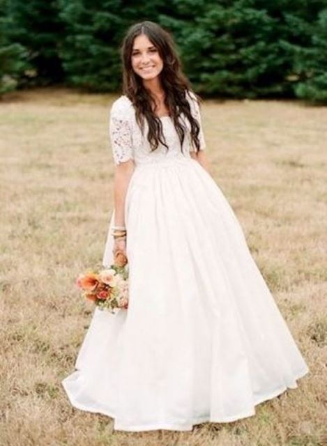 rustic half-sleeves and lace dress