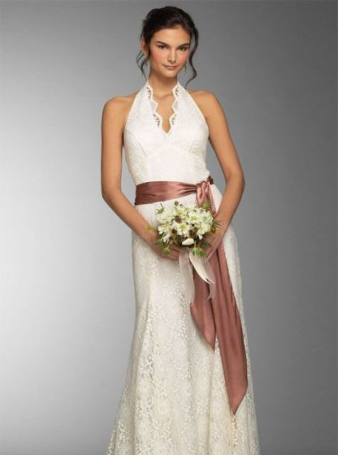 rustic halter neck wedding dress