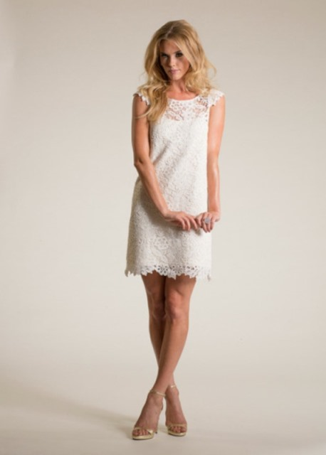 rustic mini shift wedding dress