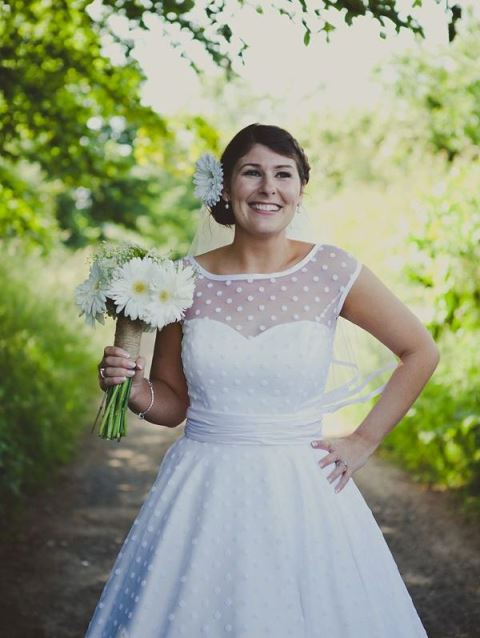 rustic polka dotted wedding dress
