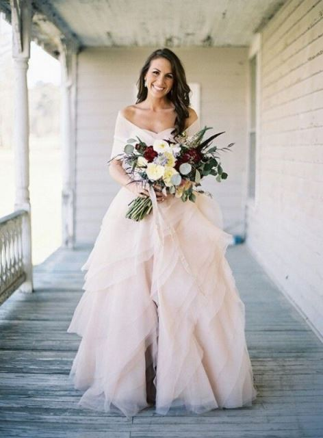 rustic rose-colored wedding dress