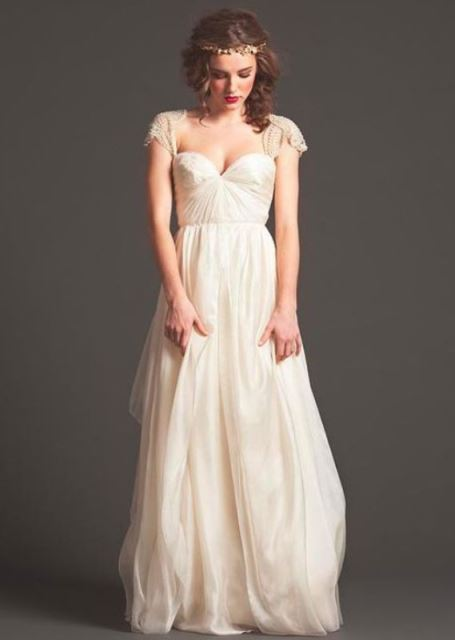 rustic sarah stevens flowy wedding dress