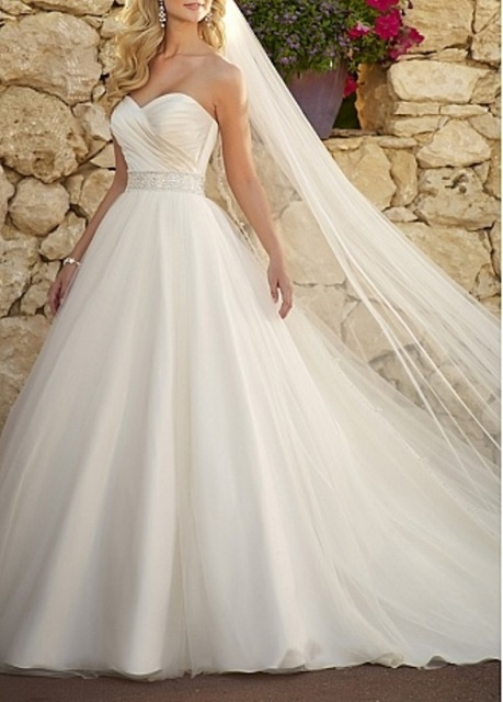 rustic tulle and satin wedding dress