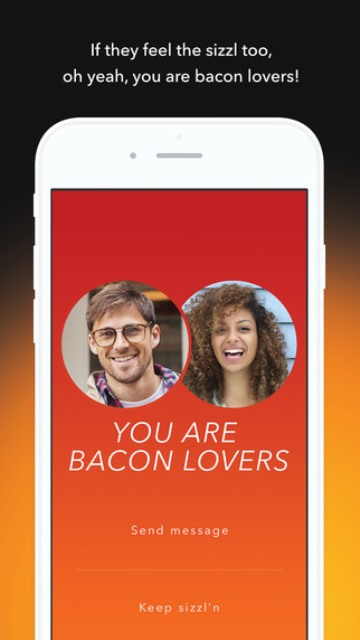 sizzl dating app page showing a match between similar bacon lovers