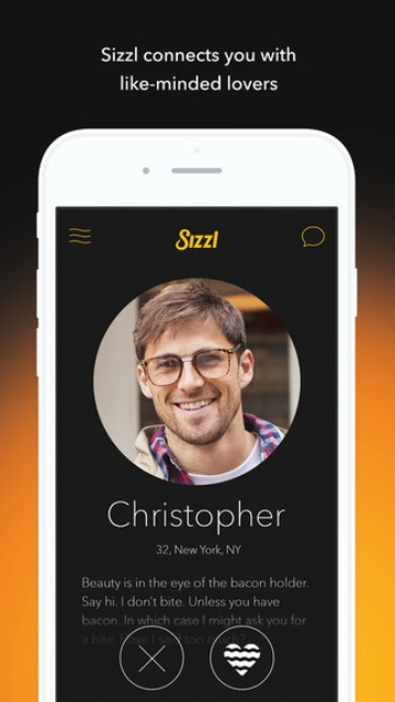 sizzl dating app page showing a user's profile