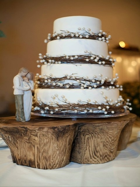 Four-tier twig and pearl wedding cake