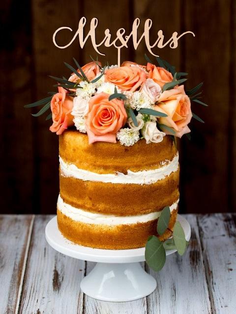Naked orange flower sponge cake