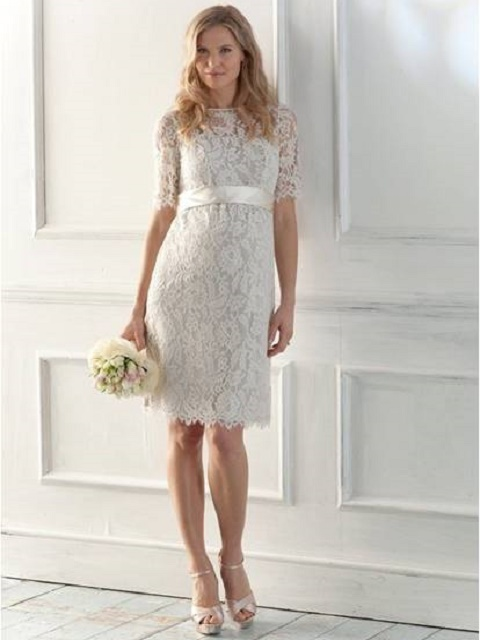 LACE BATEAU COLUMN SHORT MATERNITY WEDDING DRESS