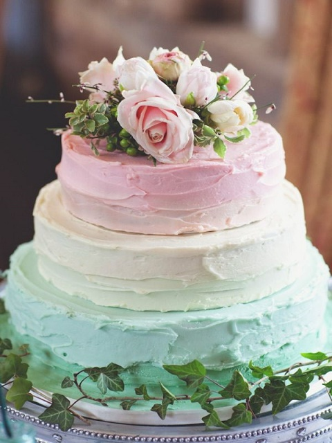 Colorful, minimalistic three-tier cake