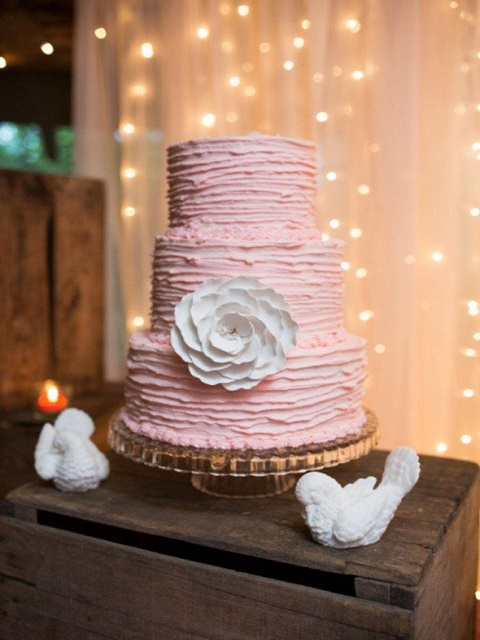 Pink textured wedding cake